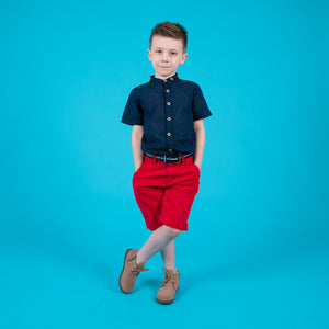 Boys children's red shorts real leather belt