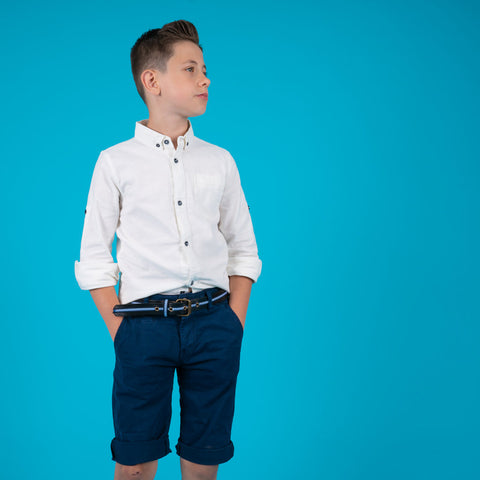 Boys children's white cotton long and short sleeve shirt