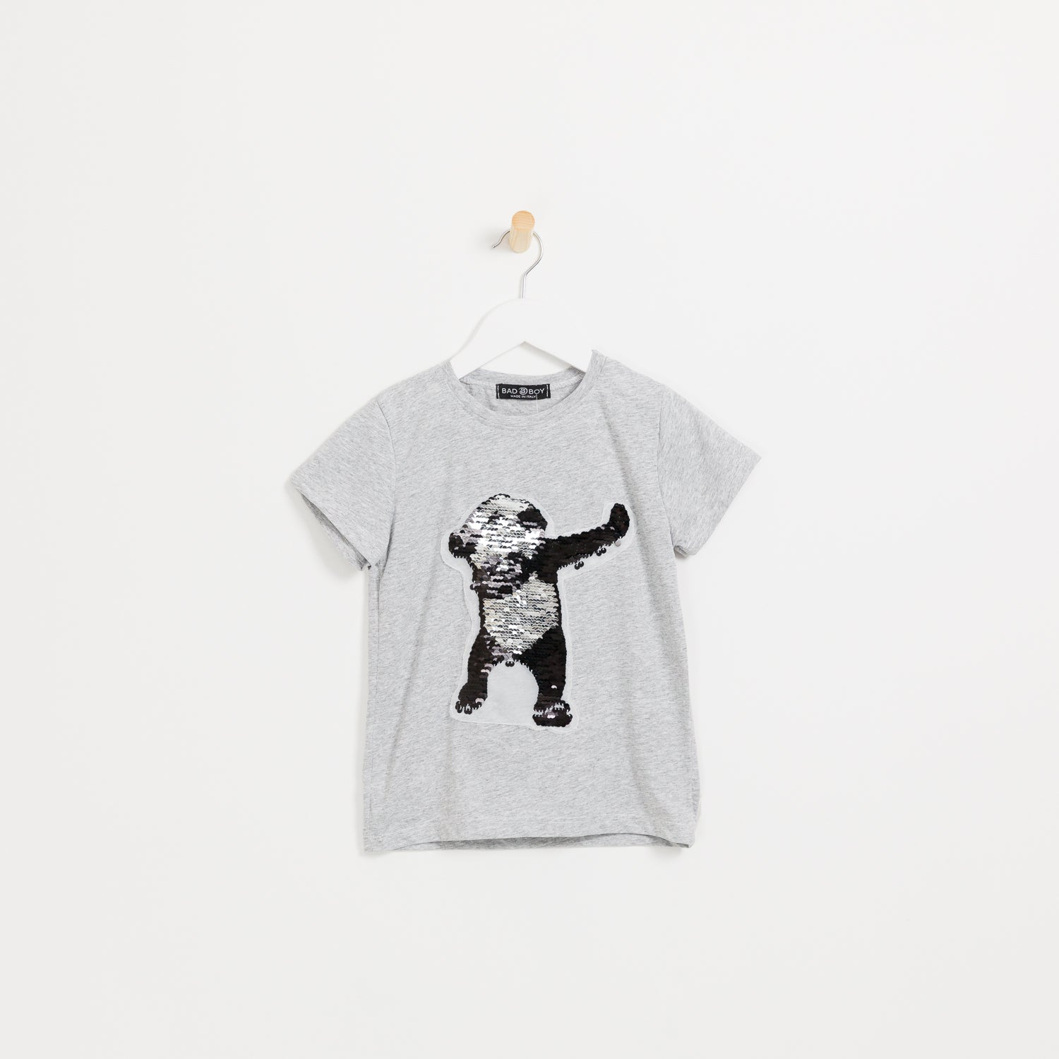 Children's Boys grey reversible sequin panda t-shirt
