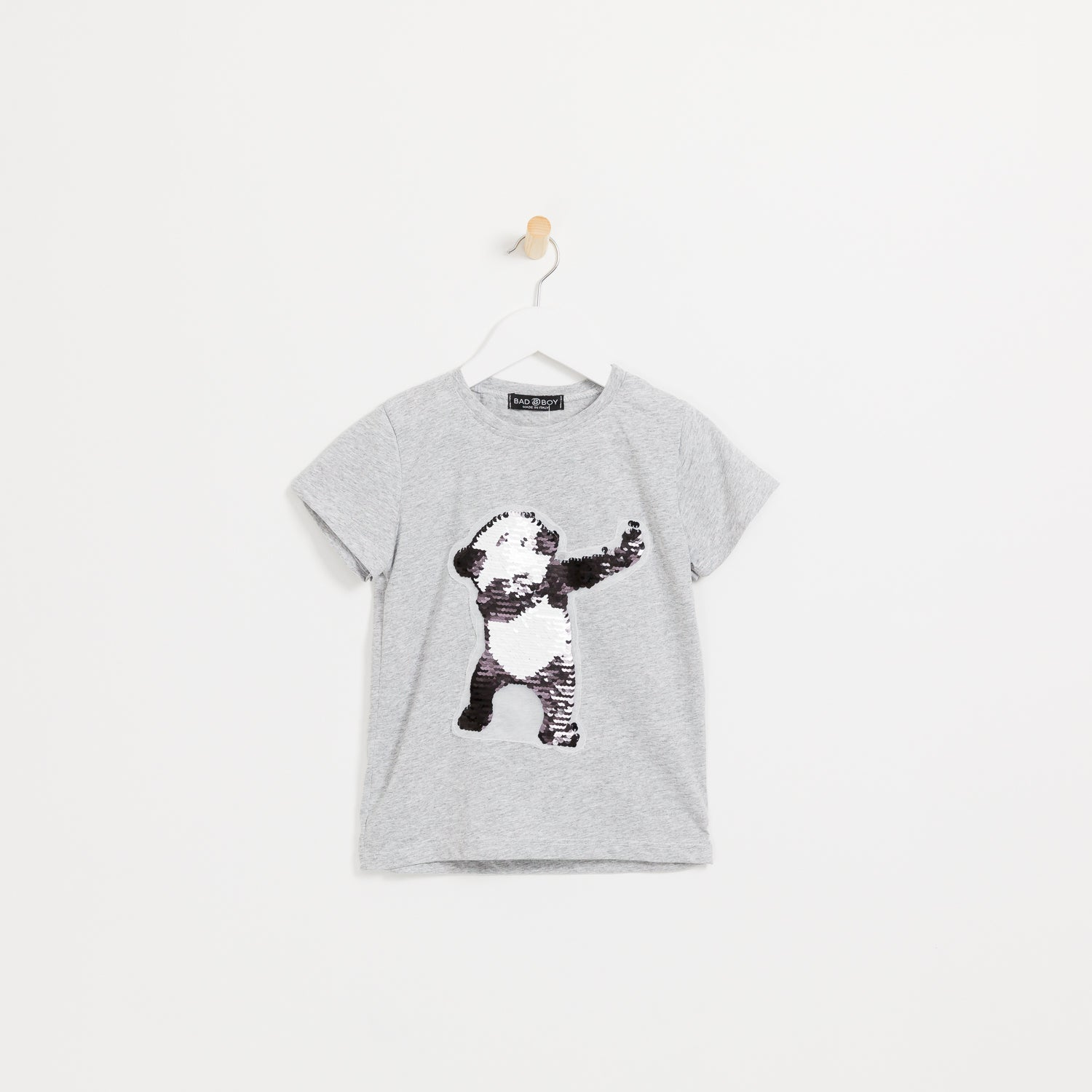 Philipp plein kids boys grey reversible sequin panda t-shirt