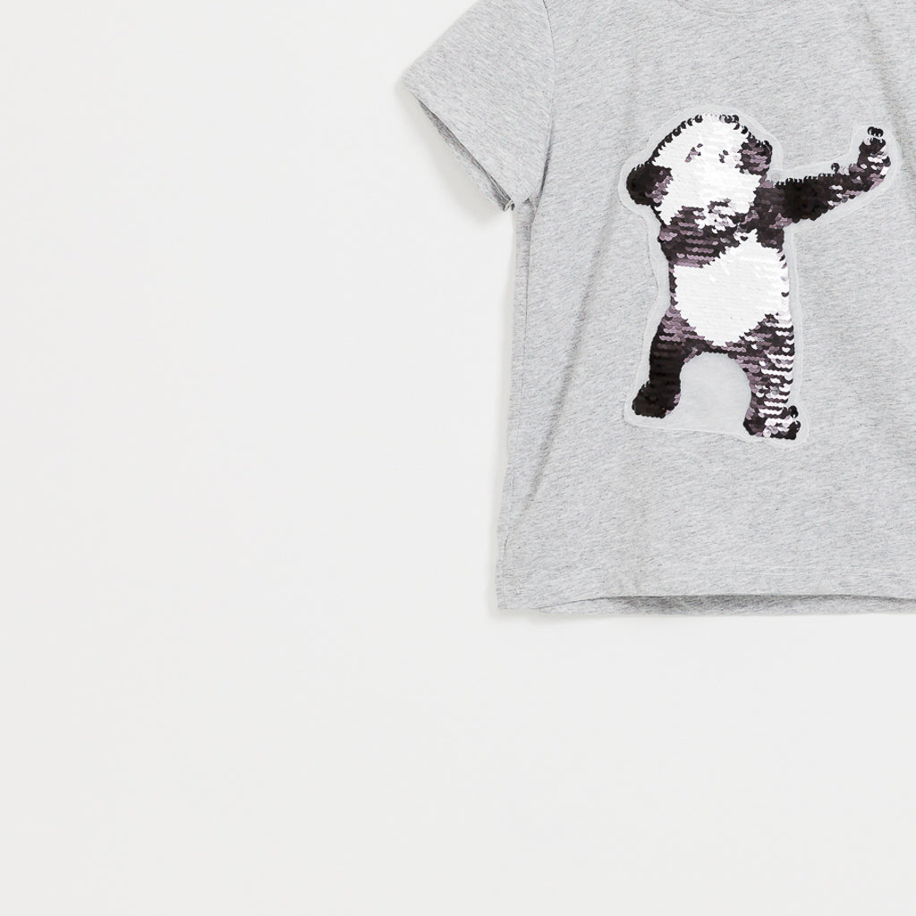 Boys grey reversible sequin panda t-shirt