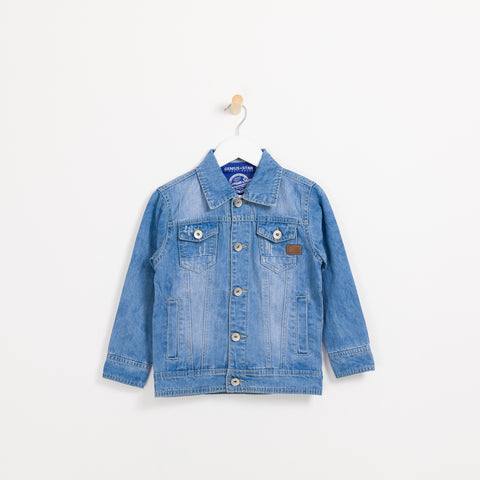Boys light denim collared jacket