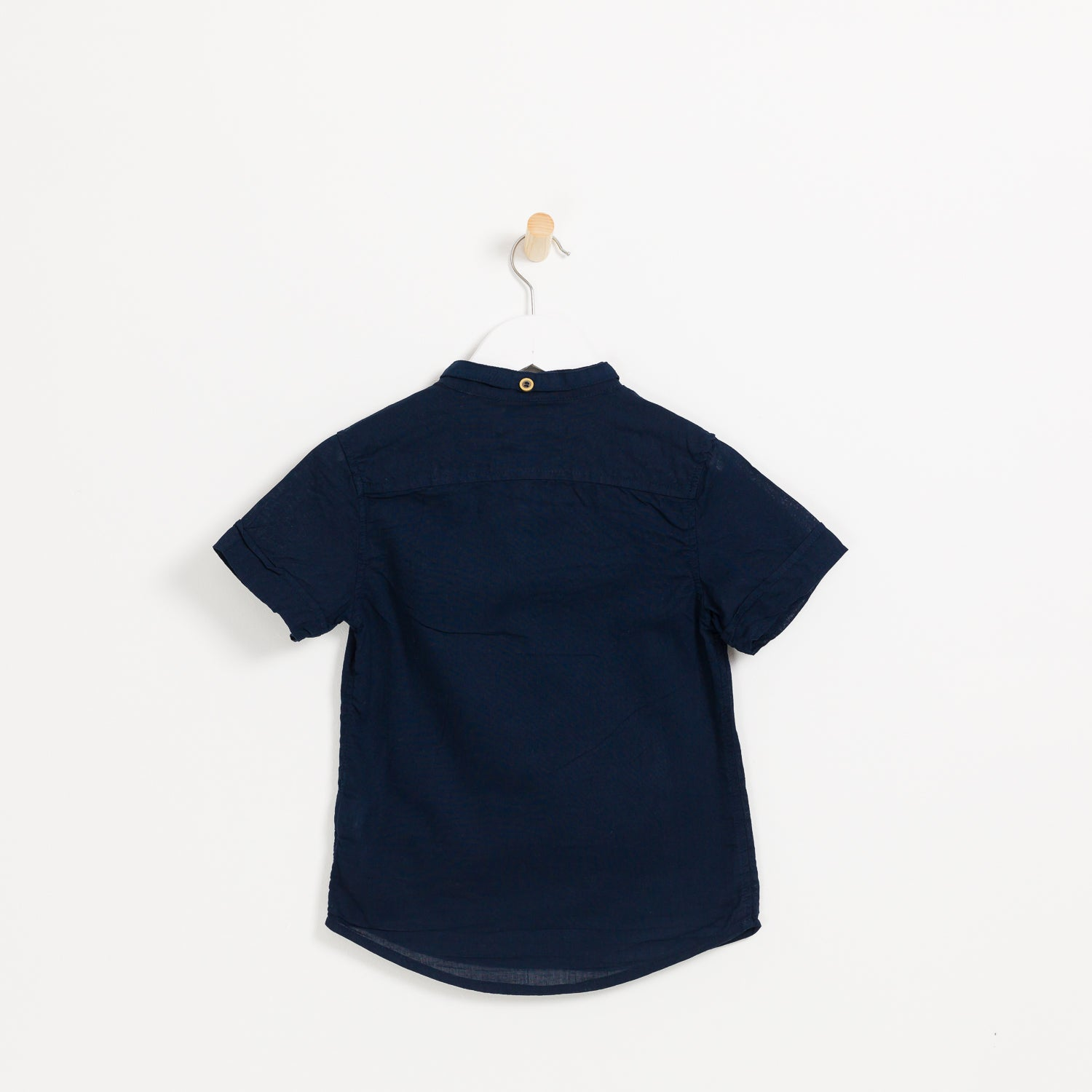 Kids boys navy cotton linen short sleeve collared shirt