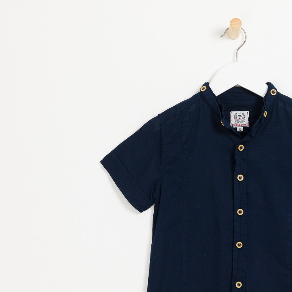 Children's boys navy cotton linen short sleeve collared shirt