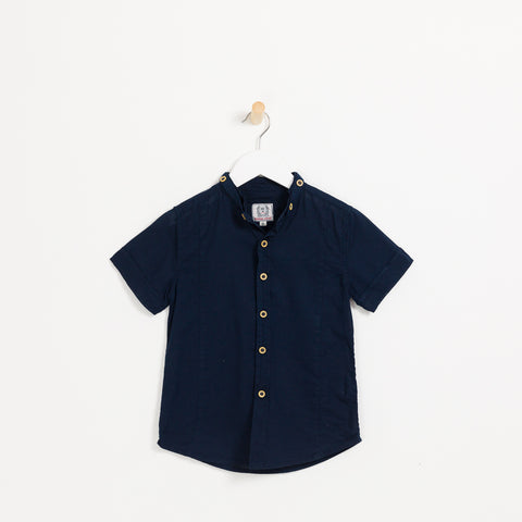 Boys navy cotton linen short sleeve collared shirt