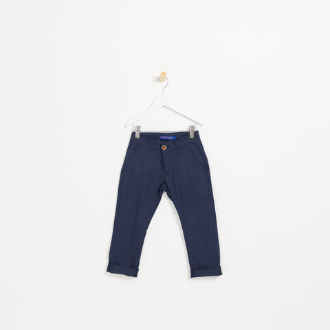 Boys navy lightweight linen summer chino trousers