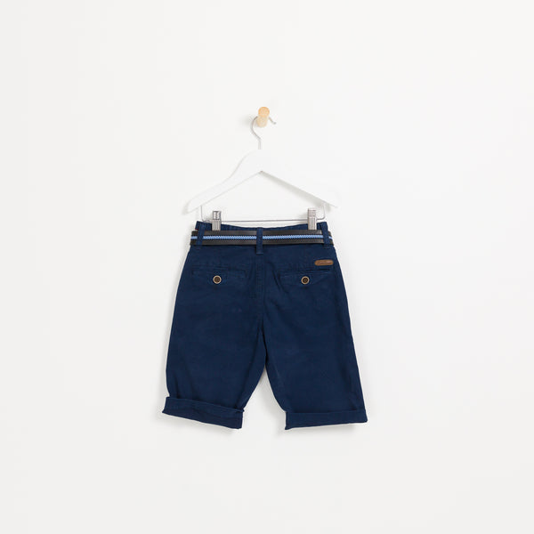 Boys navy summer shorts holiday leather belt