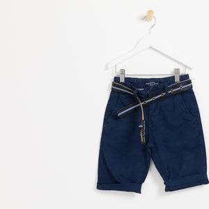 Children's Boys navy summer shorts holiday leather belt