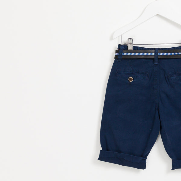 Kids Boys navy summer shorts holiday leather belt