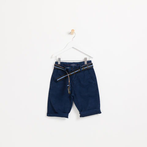 Boys navy summer shorts holiday leather belt wedding christening