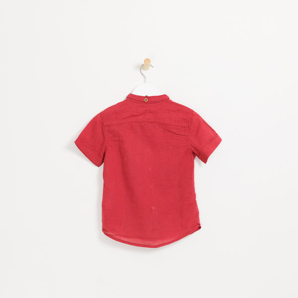 Children's boys red cotton linen short sleeve collared shirt