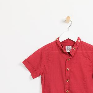 Children's boys red collarless short sleeve shirt