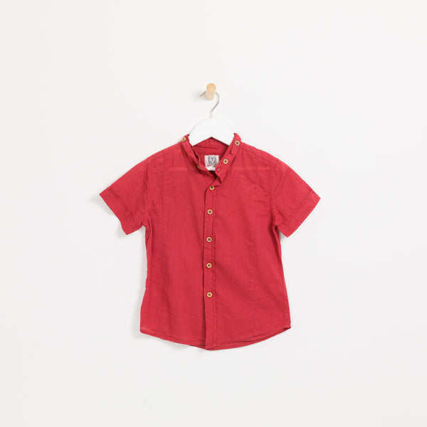 Kids boys red cotton linen short sleeve collared shirt
