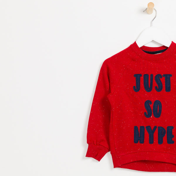Kids boys red soft slogan jumper just so hype