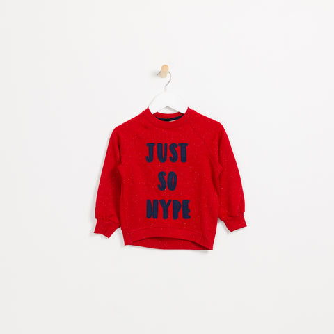 Children's Boys red soft slogan sweatshirt just so hype
