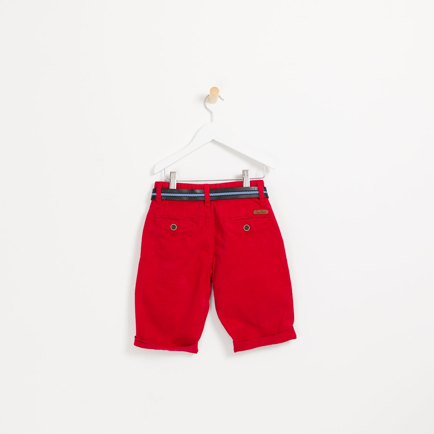 Boys red summer shorts holiday leather belt