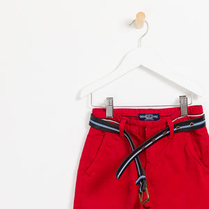 Children's Boys red summer shorts holiday leather belt