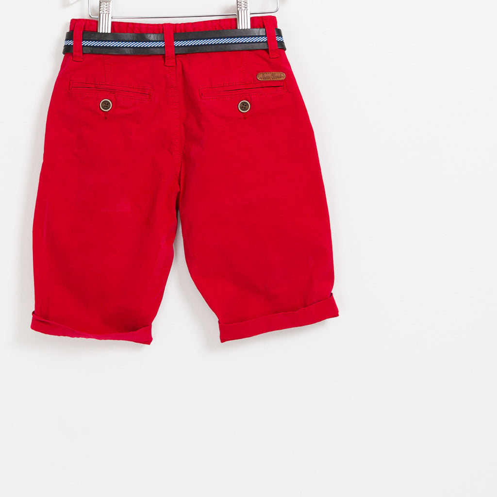 Kids Boys red summer shorts holiday leather belt
