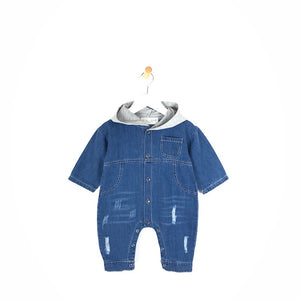 Boys baby toddler distressed blue denim trendy onesie jumpsuit grey hood
