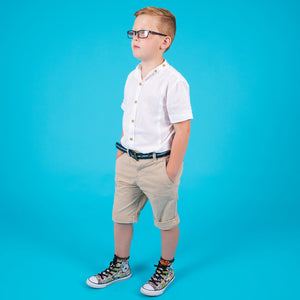 Boys children's white collarless cotton short sleeve shirt