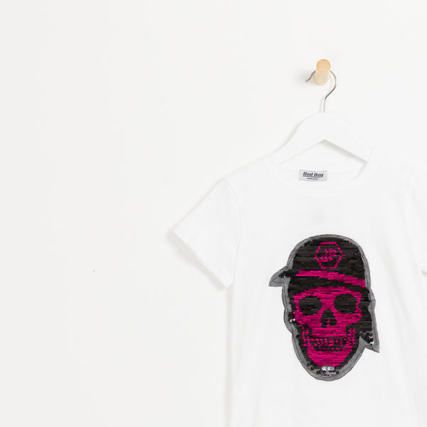 Kids Philipp plein boys white pink reversible sequin skull t-shirt