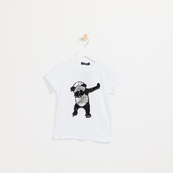 Children's Boys white reversible sequin panda t-shirt