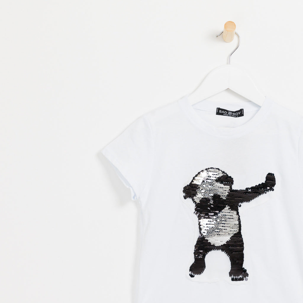 Boys white reversible sequin panda t-shirt