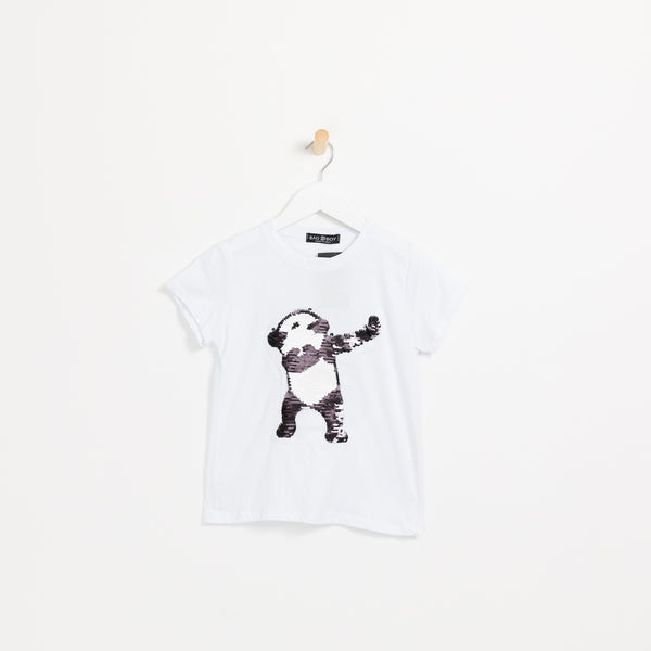 Philipp plein kids Boys white reversible sequin panda t-shirt