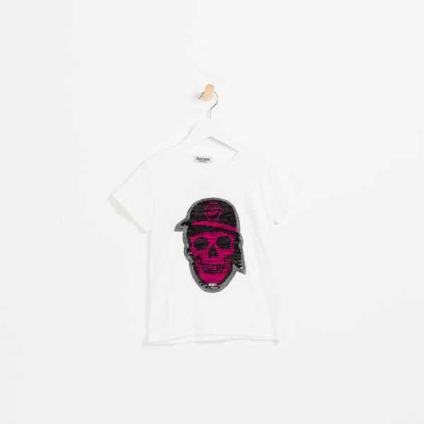 Boys white pink reversible sequin skull t-shirt