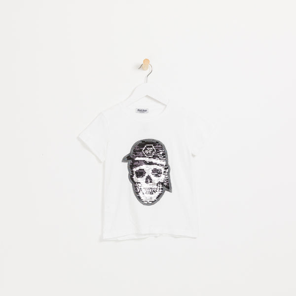 Children's boys white pink reversible sequin skull t-shirt