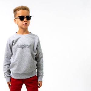 Inspired children's clothing gender neutral grey sweater jumper organic sustainable cotton