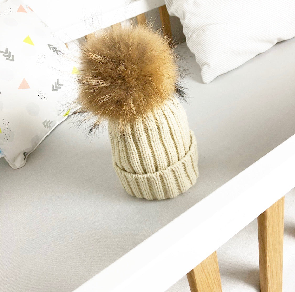 Cream child's winter luxury faux fur pom pom hat