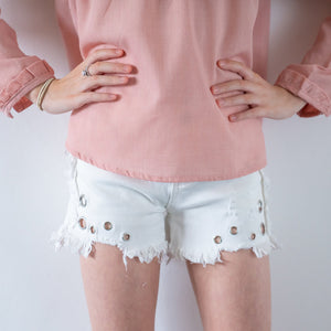 Girls Children's denim white shorts silver holes