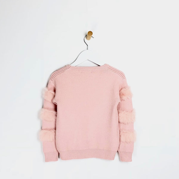 Kids Girls pink fur arm supper soft winter jumper