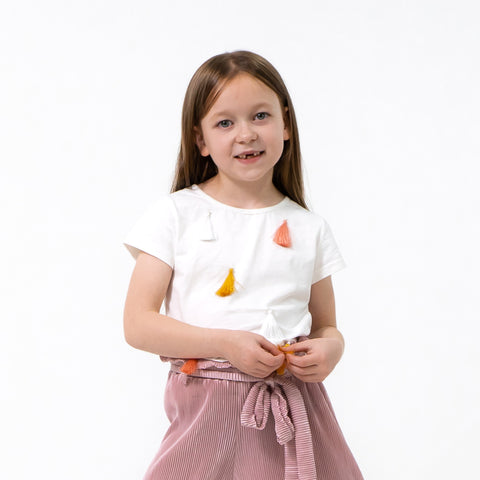 Girls White t-shirt tassels in pink white mustard easy to wear stylish cool trendy kids clothes
