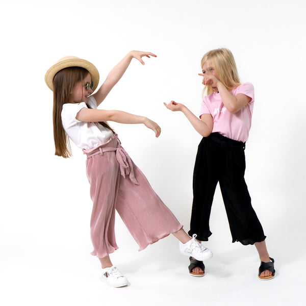 Girls dusty pink pleated trousers wide leg belted comfy easy to wear trendy cool stylish kids clothes