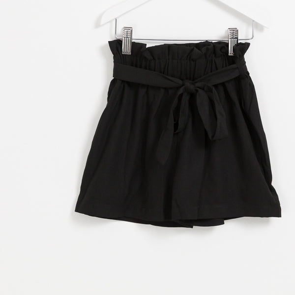 Girls black belted paper bag shorts