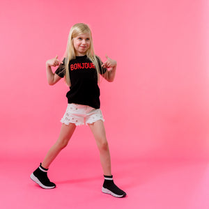 Girls black bonjour t-shirt red embroidered stylish trendy cool kids clothes