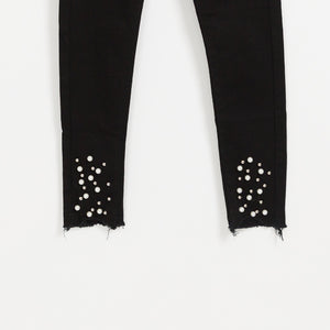 Girls black denim jeans pearl distressed ankle