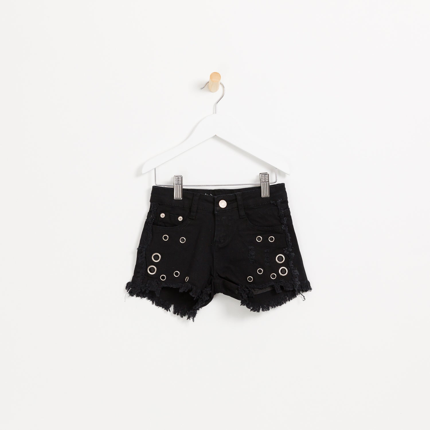 Girls black denim shorts with hole detail frayed hem holiday