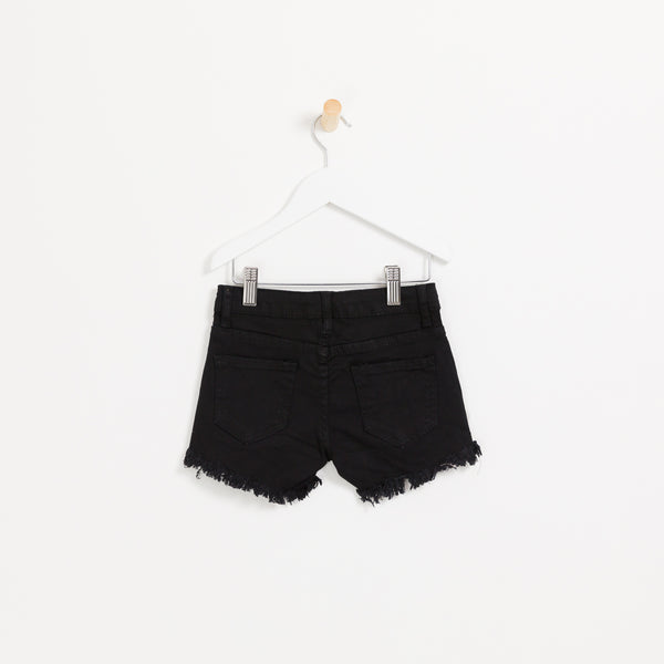 Children's girls black denim shorts with hole detail frayed hem