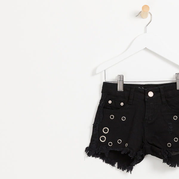 Kids girls black denim shorts with hole detail frayed hem summer
