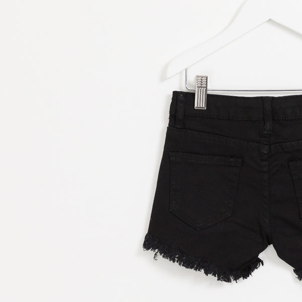 Girls black denim shorts with hole detail frayed hem