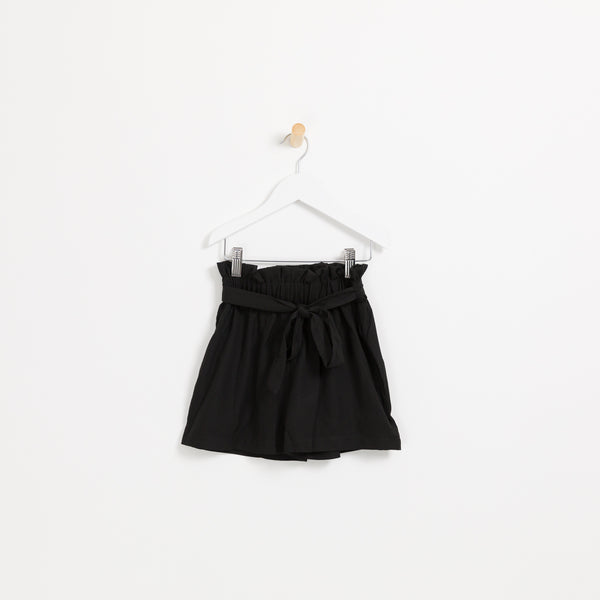 Girls black belted paper bag summer shorts