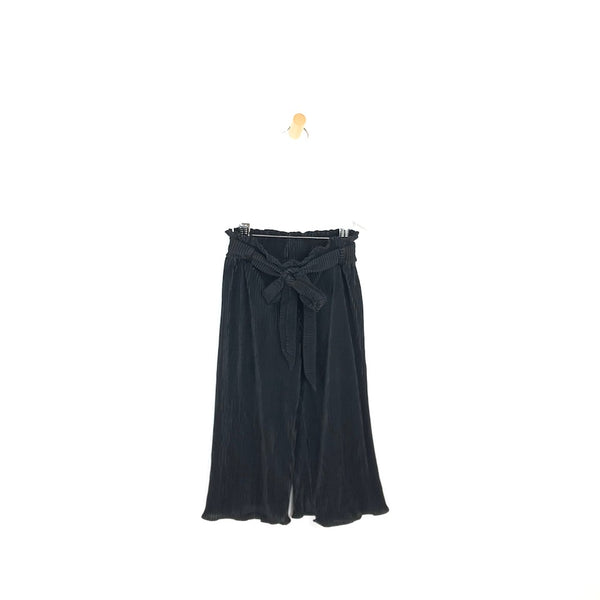 Girls black pleated trousers wide leg belted comfy pants for kids