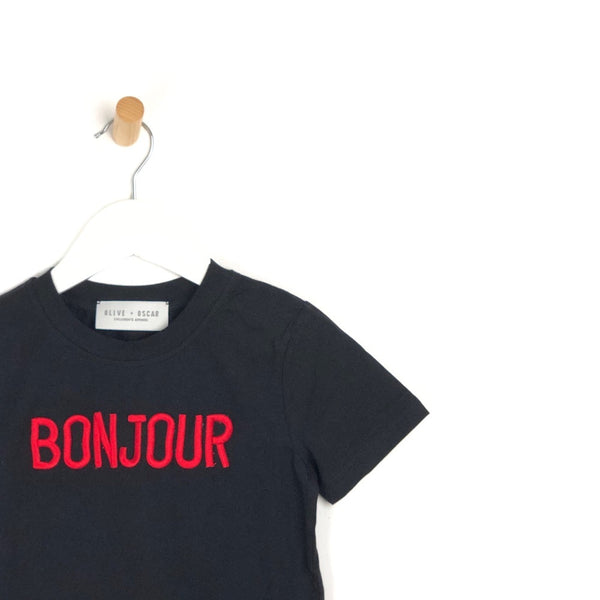 Girls black short sleeve t-shirt top with red stitched bonjour slogan for kids