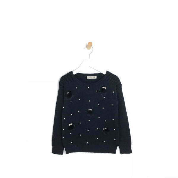 Kids Soft Winter Black Jumper with Pearls and Pom Pom's For Girls