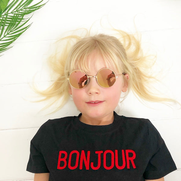 Girls bonjour black short sleeve t-shirt embroidery trendy kids clothes