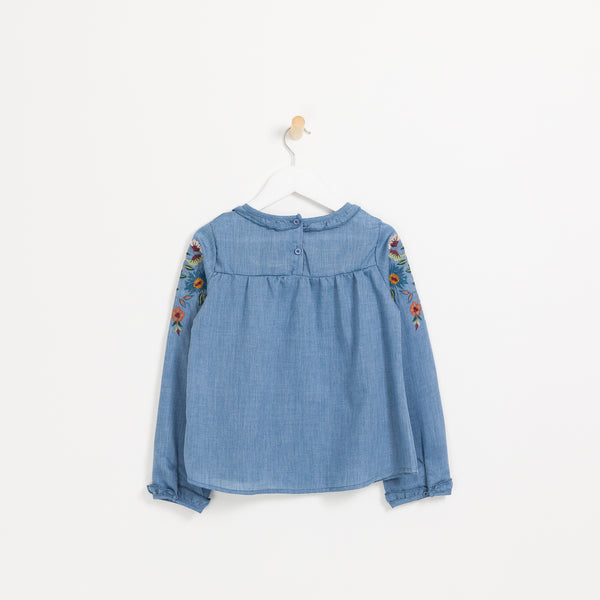 Kids girls denim long sleeve floral embroidered top