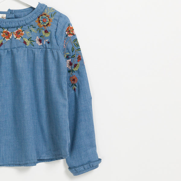 Children's girls denim long sleeve floral embroidered top